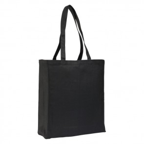 promotional 12oz black cotton canvas bags with gusset BAT-CAN4BLK-12