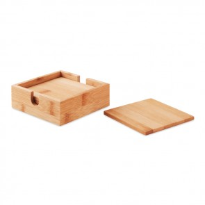promotional 4 bamboo coasters and holder MOB-MO9683