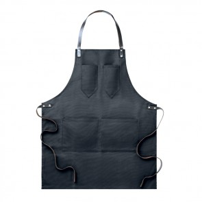 promotional apron in waxed canvas with leather details MOB-MO9237