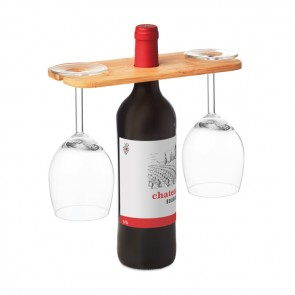 promotional bamboo wine holder for 2 glasse MOB-MO9735