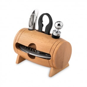 promotional bota 4 pcs wine set in wooden stand MOB-MO9523