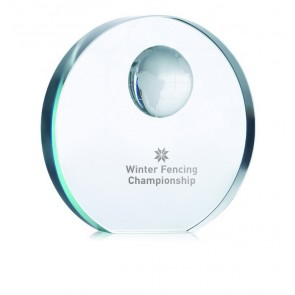 promotional globe glass trophies MOB-MO7183