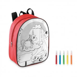 promotional kids colouring backpack with 5 markers MOB-MO9207