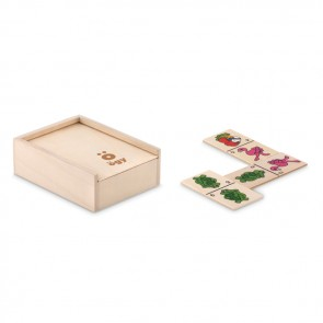 promotional kids domino set in wooden box MOB-MO9533