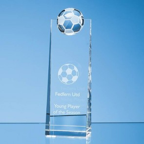 promotional optical crystal football rectangle awards CYG-SY3051