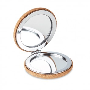 promotional pocket mirror with cork cover MOB-MO9799