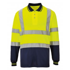 promotional portwest hi vis two tone long sleeve polo shirt RAL-PW112