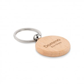 promotional round wooden key ring MOB-MO9773