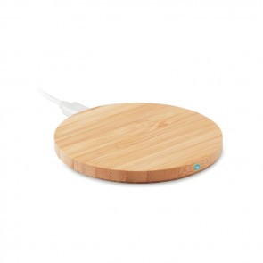 promotional rundo round bamboo wireless chargers MOB-MO9434