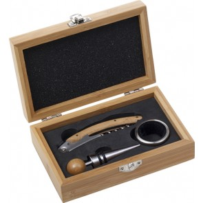 promotional stainless steel and bamboo wine set IME-8721