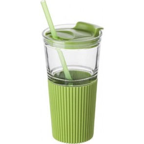 promotional glass drinking mug with matching straw IME-7486